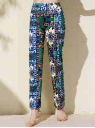 Ethnic Style Mid-Waisted Floral Print Loose-Fitting Exumas Pants For Women