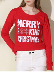 Stylish Scoop Neck Long Sleeve Snowflake and Letter Pattern Women's Christmas Sweatshirt