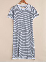 Trendy Round Neck Short Sleeve Broken Hole Striped Women's Dress -
