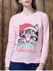 Cute Round Neck Long Sleeve Cat Print Women's Christmas Sweatshirt