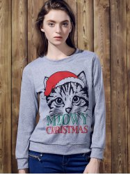 Cute Round Neck Long Sleeve Cat Print Women's Christmas Sweatshirt - GRAY
