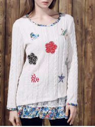 Casual Jewel Neck Long Sleeves Applique Sweater For Women - OFF-WHITE XL