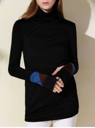Fashionable Turtleneck Long Sleeve Sheathy Pullover Sweatshirt For Women