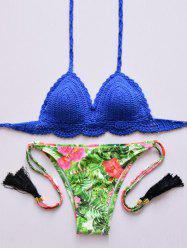 Trendy Halter Cotton Blend Floral Print Bikini Set For Women -