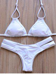 Elegant Halter Solid Color Hollow Out Bikini Set For Women - WHITE S