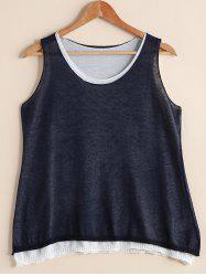 Stylish Scoop Neck Faux Twinset Loose-Fitting Women's Tank Top -