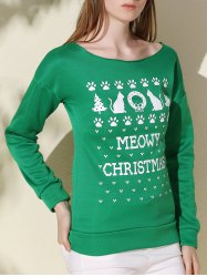 Stylish Scoop Collar Long Sleeve Tree and Snowflake Print Women's Christmas Sweatshirt