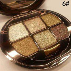 Stylish 6 Colours Sparkly Diamond Eye Shadow Palette with Mirror and Brush -