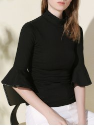 Stylish Stand Collar Flare Sleeve Black Slimming Women's Knitwear