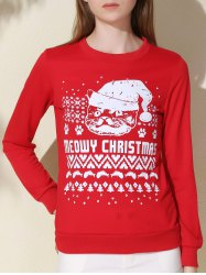Fashionable Round Collar Letter and Cat Printed Pullover Christmas Sweatshirt For Women - RED