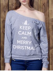 Chic One-Shoulder Long Sleeve Letter Print Women's Christmas Sweatshirt - GRAY