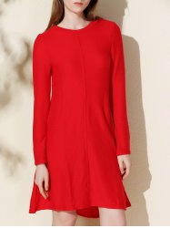 Casual Long Sleeve Jersey Swing Dress - RED S