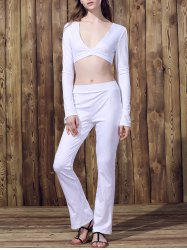 Sexy Low-Cut Long Sleeve Crop Top and Pants Suit For Women