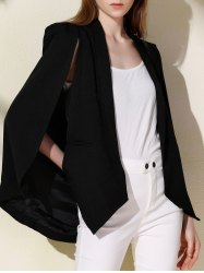 Shawl Collar Long Sleeve Solid Color Cape Blazer - BLACK