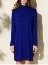 Elegant Turtleneck Long Sleeve Slimming Pure Color Women's Dress