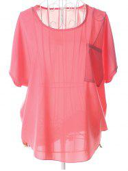Casual Plus Size Scoop Neck See-Through Short Sleeves Blouse For Women -