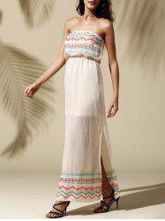 Printed Slit Strapless Maxi Dress