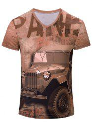 V-Neck 3D Car and Letters Print Color Block Short Sleeve T-Shirt For Men - COLORMIX