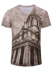 Men's Trendy 3D Building Printed Short Sleeves T-Shirt - CAMEL S