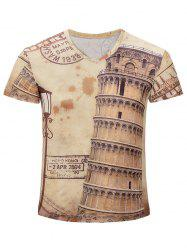 Leaning Tower of Pisa Printed V Neck Tee - EARTHY