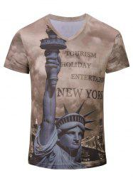 3D Statue of Liberty Printed V Neck Tee - DEEP BROWN S