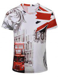Bus Printed Short Sleeves V Neck Tee