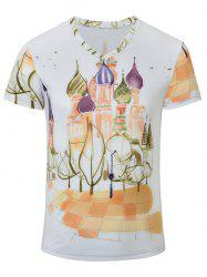 Castle Printed V Neck Tee - WHITE S
