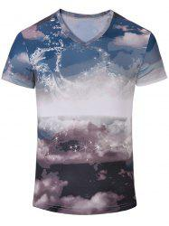 Casual Printed Short Sleeves T-Shirt For Men - COLORMIX S