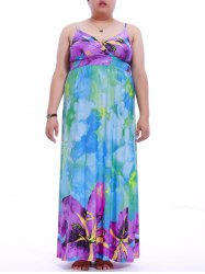 Plus Size Flower Print Maxi Camisole Dress