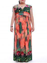 Plus Size High Waist Print Maxi Dress