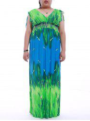 Plus Size V-Neck Printed Maxi Dress