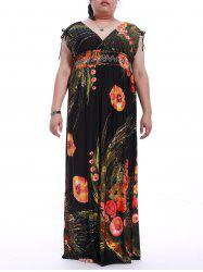 Plus Size Mock Waist Pattern Maxi Dress