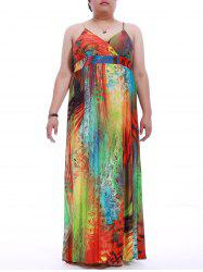 Plus Size Mock Waist Print Cami Dress