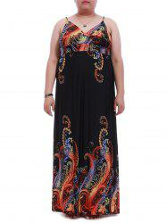 Stylish Plus Size Plunging Neck Spaghetti Strap Print Dress For Women
