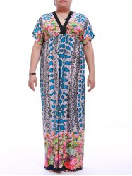 Snakeskin Print Plus Size Maxi Dress With Short Sleeve