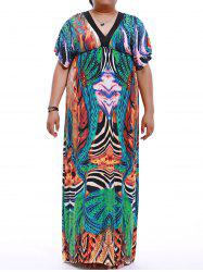 Plus Size V-Neck Empire Waist Print Maxi Dress