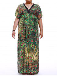 Plus Size Elastic Waist Print Maxi Dress