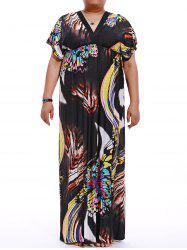 Plus Size V-Neck Print Maxi Dress - BLACK M