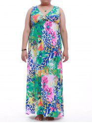 Plus Size Sleeveless Flower Print Maxi Dress