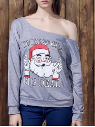 Chic One-Shoulder Long Sleeve Santa Claus Print Women's Christmas Sweatshirt - GRAY S