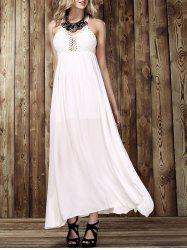 Maxi Criss Backless Flowy Semi Formal Wedding Dress