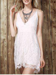 Low Cut Lace Romper - WHITE XL