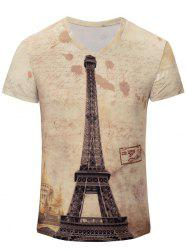 V-Neck Iron Tower Print Color Block Short Sleeve T-Shirt For Men