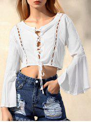 Stylish Scoop Neck Flare Sleeve Lace Up Chiffon Women's Blouse -