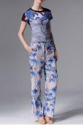 Round Neck Printed T-Shirt and Pants Twinset -