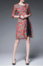 Print Three Quarter Sleeve Round Neck Dress - RED