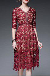 V Neck Solid Color Hollow Out Dress - WINE RED
