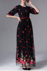 Floral Embroidered Half Sleeve Maxi Dress -