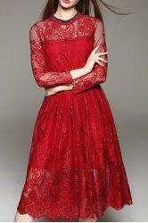 Lace Tea Length A Line Party Swing Dress - WINE RED