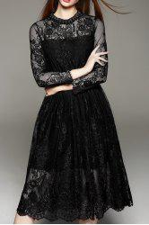 Lace Tea Length A Line Party Swing Dress